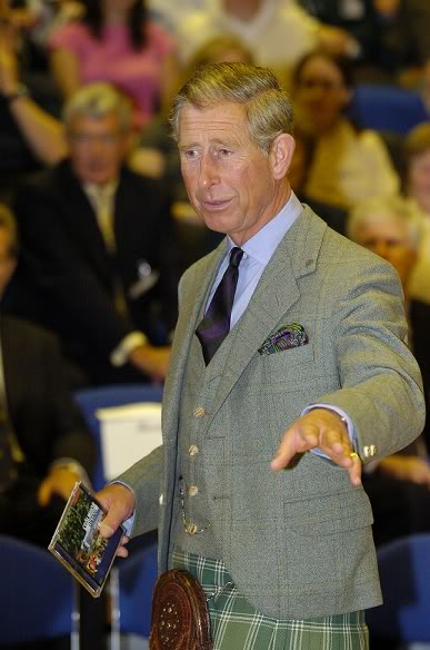Shown here highlighting colours in his tie and kilt, as well as the check of his jacket and waistcoat