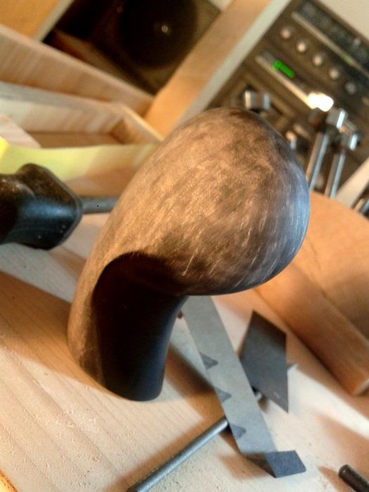 My brush, carved and sanded back