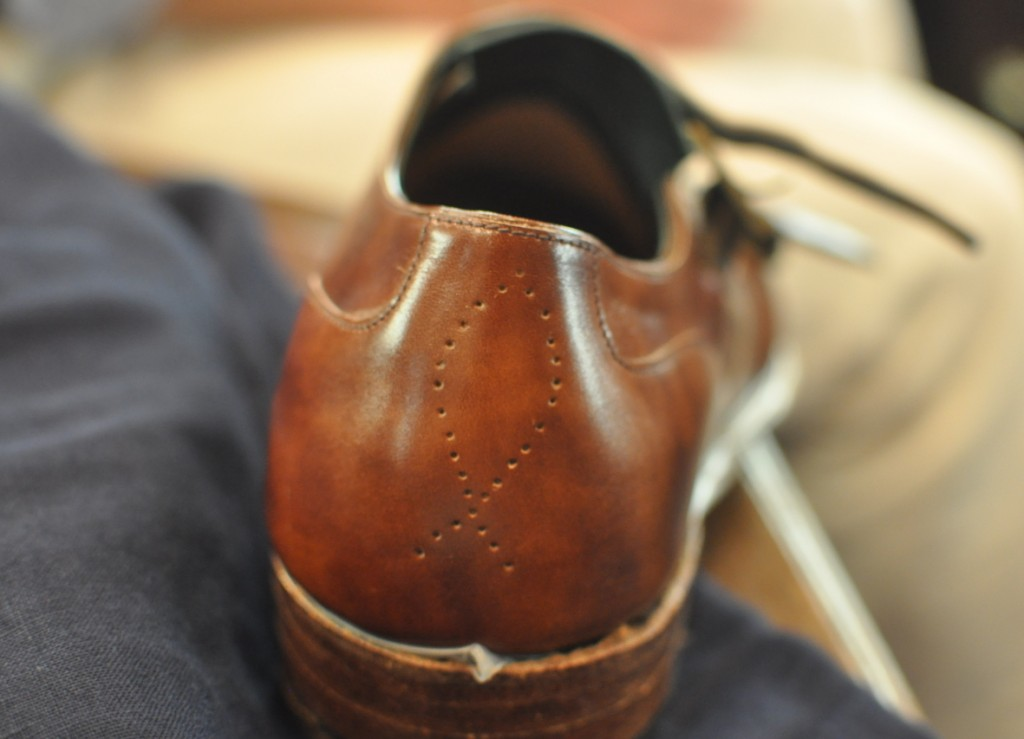 Preview of my bespoke double monks, fish punched into the heel.
