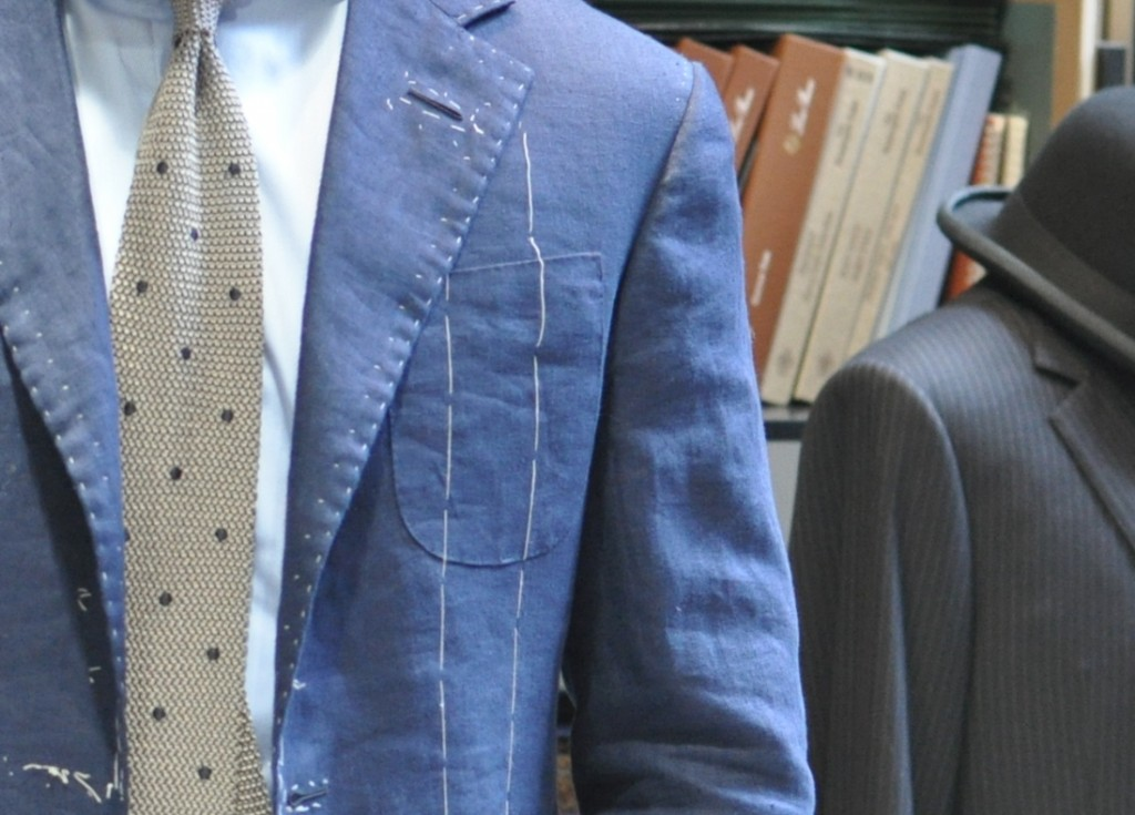 My bespoke linen sport coat with breast patch pocket.