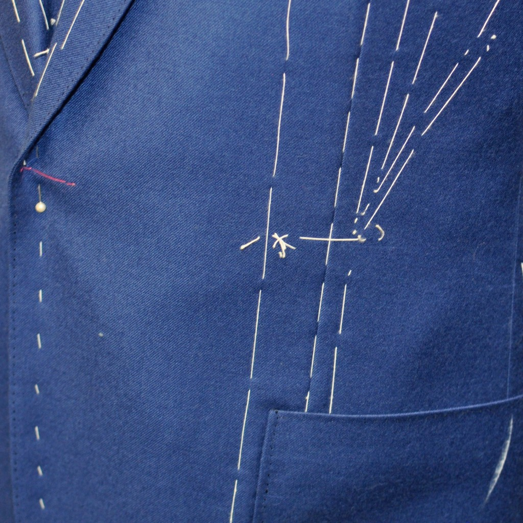 Detail on pick stitching at the patch pocket and jacket facing