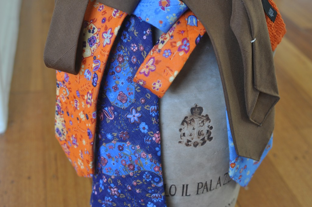Ties from Robery Keyte Silks, Anna Natuozzo Napoli and Kamakura.