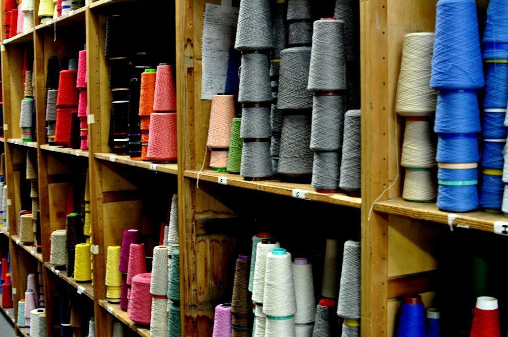 Rows of cashmere thread