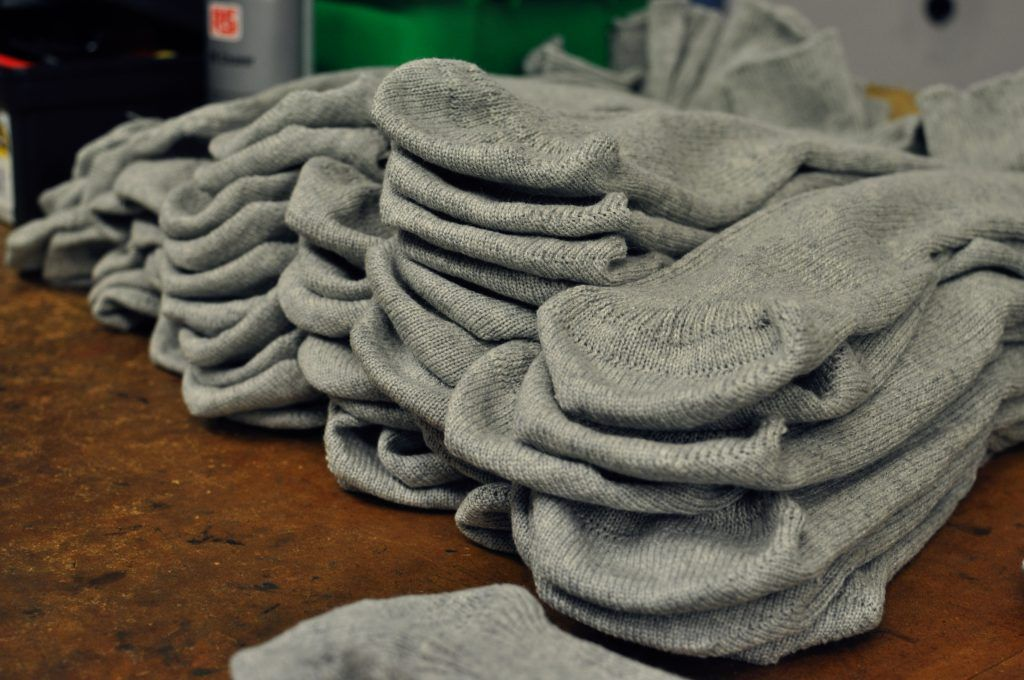 Finished cashmere socks. Surprisingly rough to the touch until a final treatment softens them.